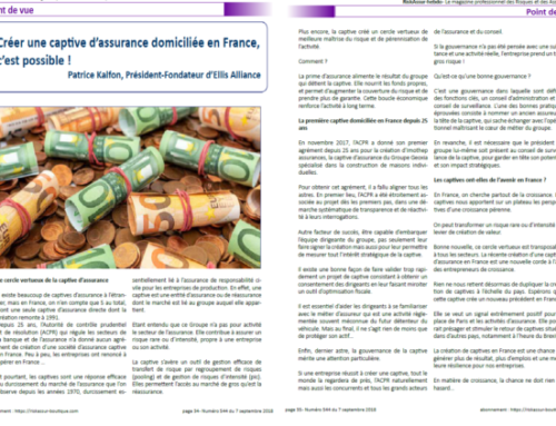 """Creating a captive domiciled in France is possible! ""Patrice Kalfon's article in RiskAssur magazine"
